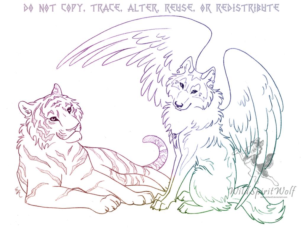 Tiger And Wolf Sketch by WildSpiritWolf on DeviantArt