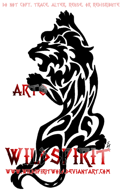 Climbing Tribal Lion Tattoo by WildSpiritWolf