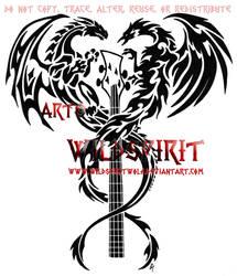 Dragon And Phoenix Bass Tattoo by WildSpiritWolf