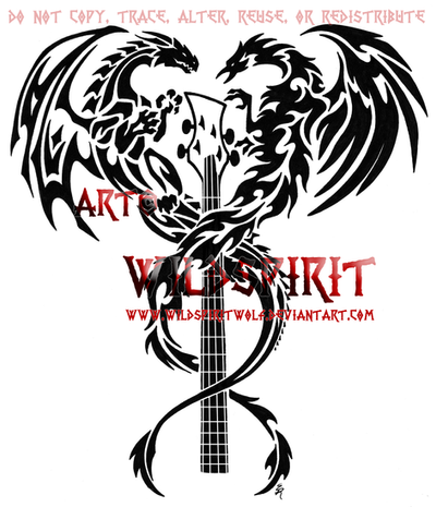 Dragon And Phoenix Bass Tattoo by *WildSpiritWolf on deviantART