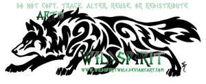 Horizontal Prowling Wolf Tattoo