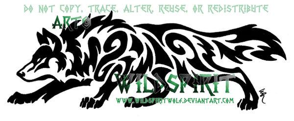 Horizontal Prowling Wolf Tattoo by WildSpiritWolf