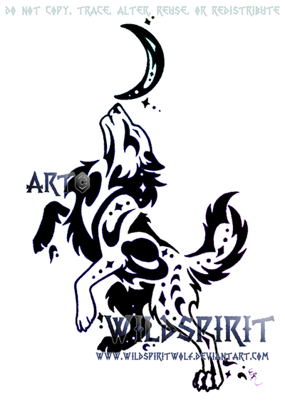 tribal wolf tattoos. Space Tribal Wolf Tattoo by