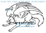 Playful Winged Fox Lineart