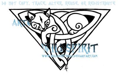 Celtic Triquetra Cat Design by WildSpiritWolf
