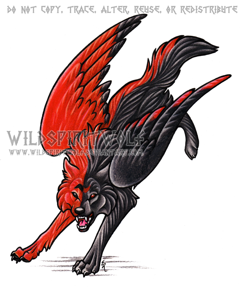 Evil black winged wolf - photo#7