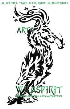 Elemental Spirit Wolf Tattoo