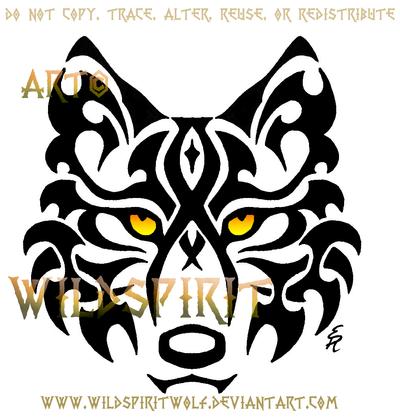 Tribal Wolf Face Tattoo by WildSpiritWolf