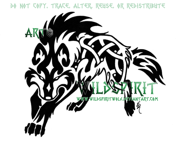 Fenrir Knotwork Wolf Tattoo by WildSpiritWolf