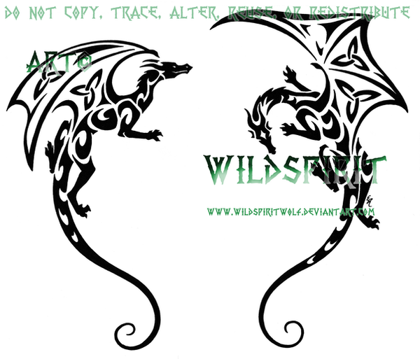 Shoulder Dragon Pair Tattoo by WildSpiritWolf