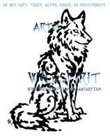Sitting Water Wolf Tattoo by WildSpiritWolf