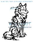 Sitting Water Wolf Tattoo