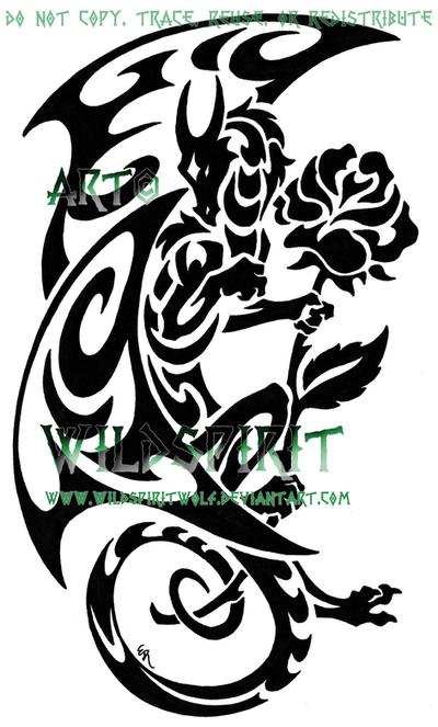 dragon and rose tattoo by wildspiritwolf on deviantart. Black Bedroom Furniture Sets. Home Design Ideas