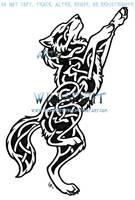 Knotwork Dancing Wolf Tattoo by WildSpiritWolf