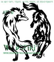 Yin Yang Tribal Wolf Set by WildSpiritWolf