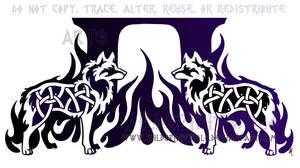 Dual Knotwork Wolves Tattoo