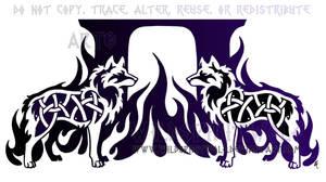 Dual Knotwork Wolves Tattoo by WildSpiritWolf