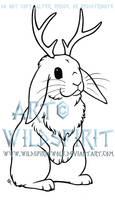 Jackalope Lop Rabbit Lineart