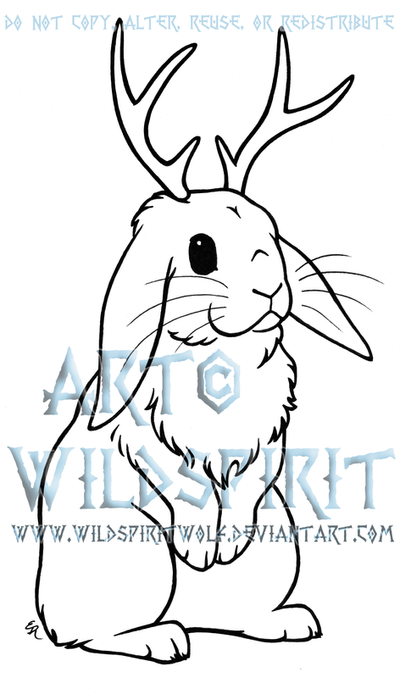 Jackalope Lop Rabbit Lineart by WildSpiritWolf on DeviantArt