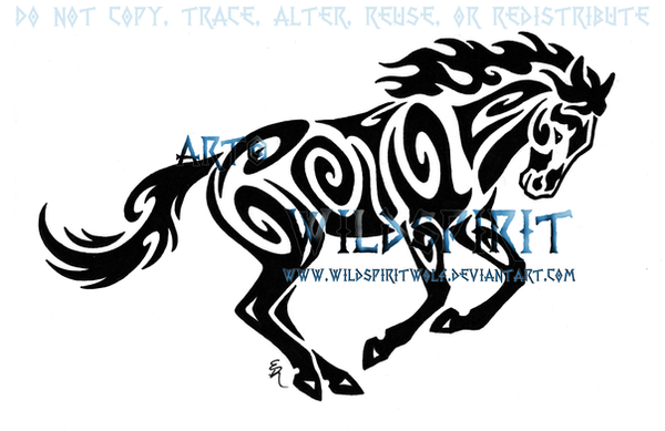 tribal horse tattoo. Tribal Running Horse Tattoo by