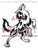 Standing Howling Tribal Wolf by WildSpiritWolf