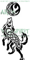 Howling Knotwork Wolf Tattoo