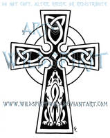 Celtic Cross And Wolf