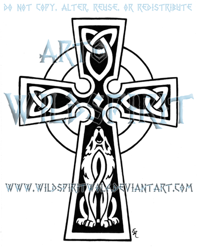 Celtic Cross And Wolf By Wildspiritwolf On Deviantart