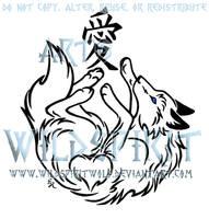 Wolf And Love Kanji Tattoo by WildSpiritWolf