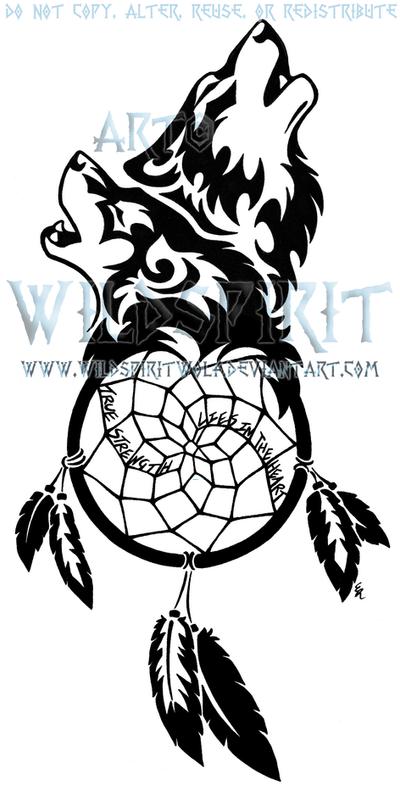 Wolf Dream Catcher Tattoo Designs