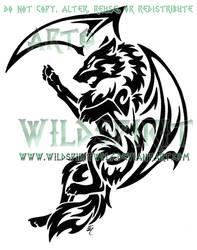 Tribal Dragon Wolf Tattoo by WildSpiritWolf
