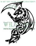 Tribal Dragon Wolf Tattoo