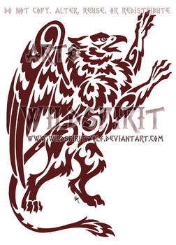 Red Gryphon Tribal Tattoo