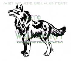 Peacock Tribal Wolf Tattoo