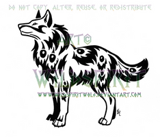 Peacock Tribal Wolf Tattoo by WildSpiritWolf