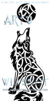 Knotwork Howling Coyote Tattoo