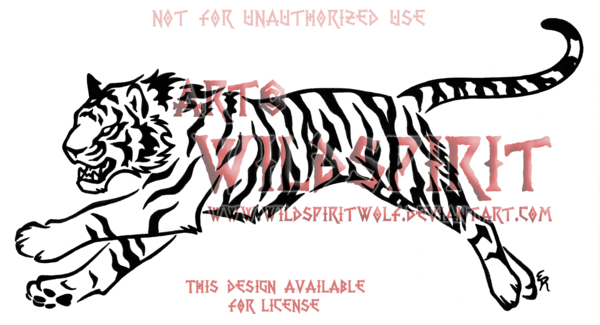 Fierce Running Tiger Tribal Design by WildSpiritWolf