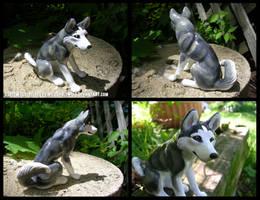 Sitting Grey Husky Sculpture by WildSpiritWolf