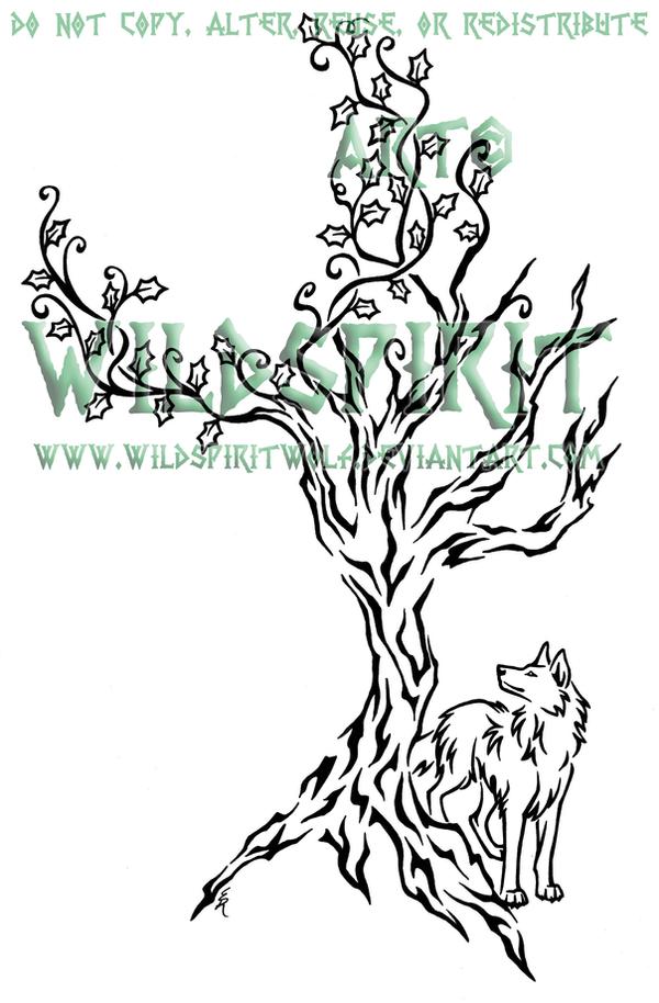 ivy tree and wolf tattoo by wildspiritwolf on deviantart. Black Bedroom Furniture Sets. Home Design Ideas