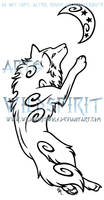 Leaping Celestial Wolf Tattoo