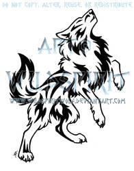 Bold Howling Wolf Tattoo
