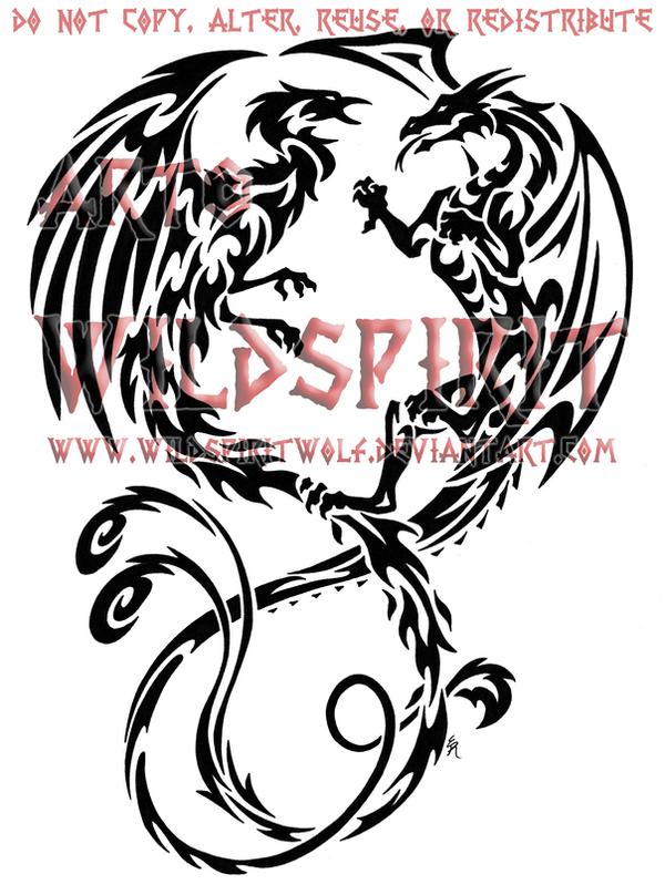 tribal dragon and phoenix by wildspiritwolf on deviantart. Black Bedroom Furniture Sets. Home Design Ideas