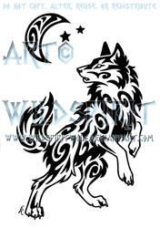 Windy Swirl Wolf And Moon Tattoo
