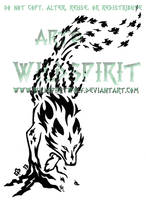 Leaping Fanged Elemental Wolf Tattoo by WildSpiritWolf