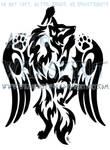 Winged Climbing Wolf Tattoo