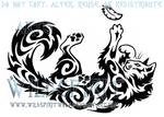 Playful Cat And Feather Tribal Design