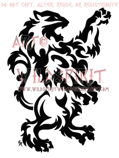 Medieval Rampant Lion Tribal by WildSpiritWolf