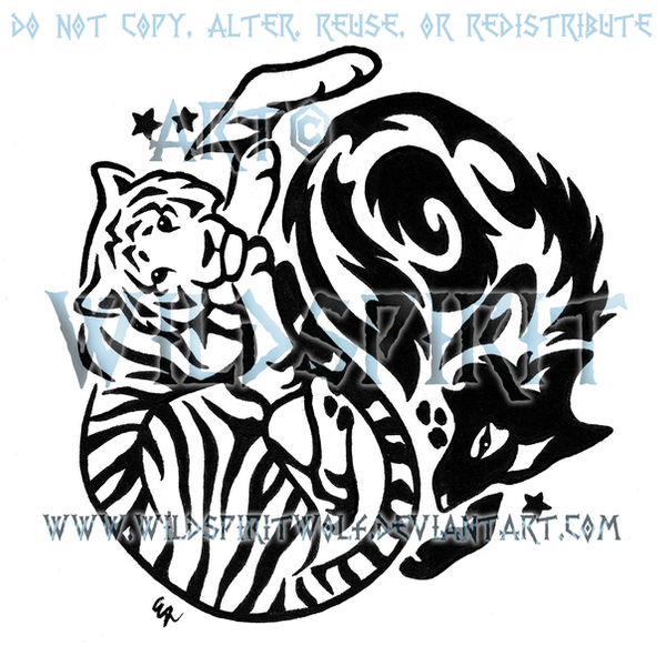 yin yang tiger and wolf tribal design by wildspiritwolf on deviantart. Black Bedroom Furniture Sets. Home Design Ideas