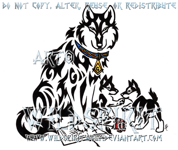 Tribal Wolf Wallpaper: Tribal Father Wolf And Pups By WildSpiritWolf On DeviantArt