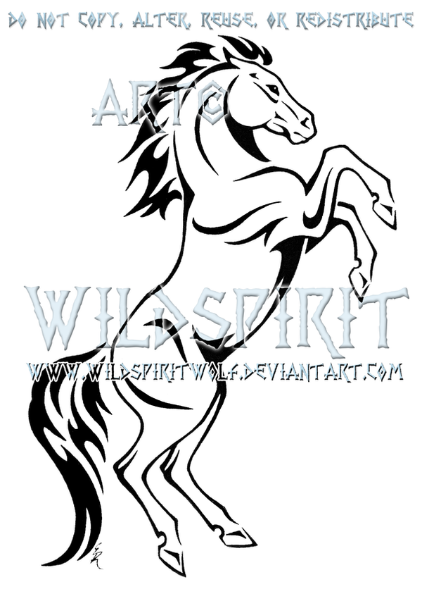 Line Drawing Horse Tattoo : Rearing horse tribal design by wildspiritwolf on deviantart